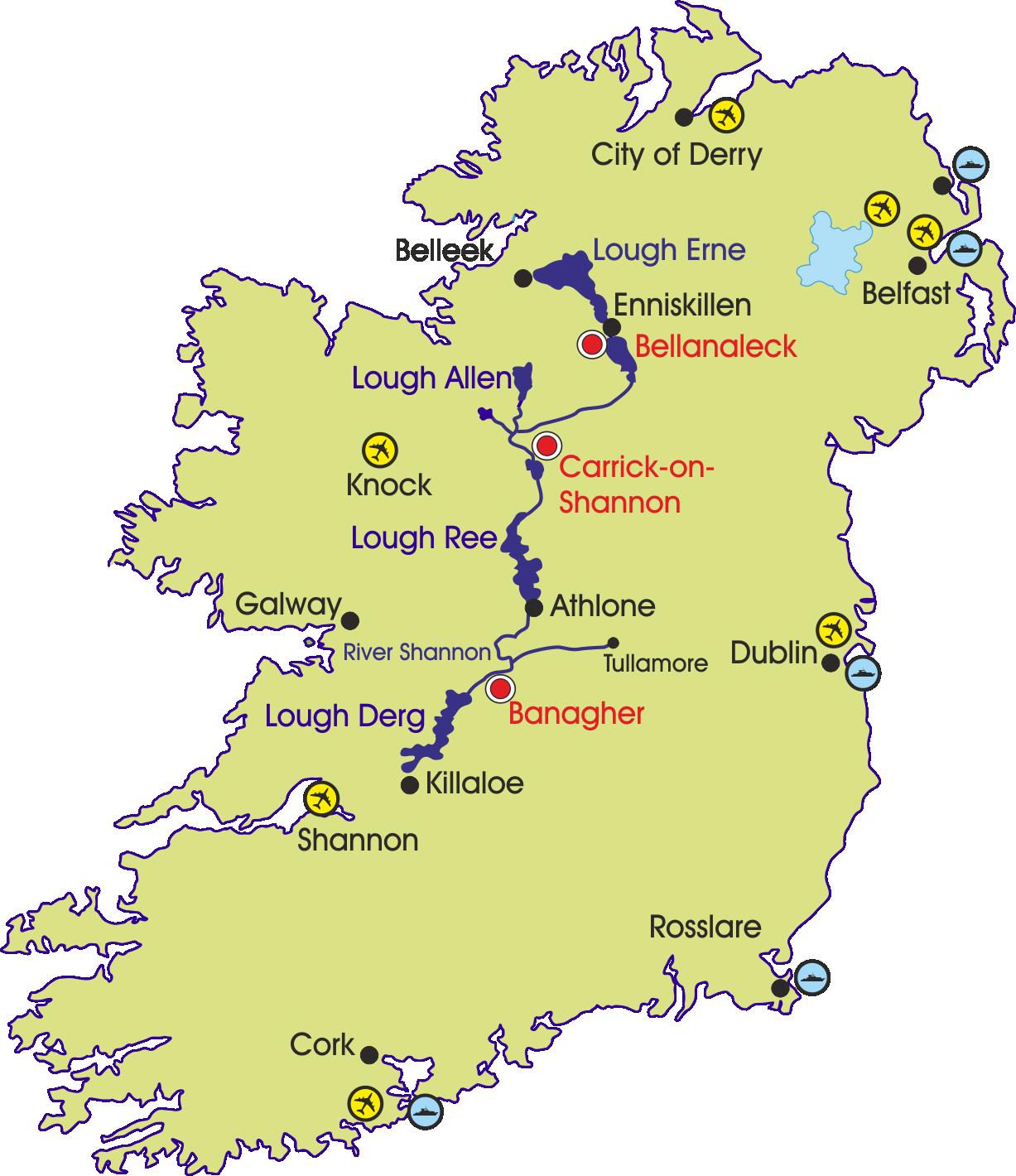 Irland Karte.Hausboot Irland Bootsurlaub Auf Shannon Und Erne Routes